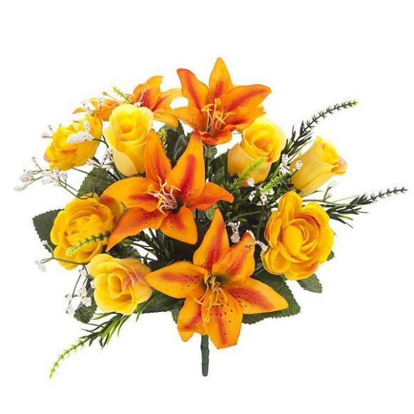 Ramos artificiales ramo flores artificiales mini liliums for Plantas ornamentales artificiales