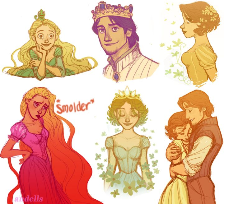 """artoftangled: """"Tumblr Sketches by ~andells The one the bottom right is my one of my favorite pieces of Tangled fanart, if not my total favorite. """""""