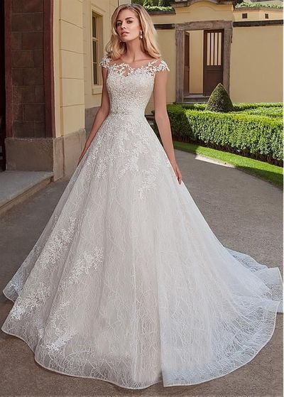 Magbridal Exquisite Tulle & Lace Bateau Neckline A-line Wedding Dresses With Lace Appliques & Belt from PeachGirlDress