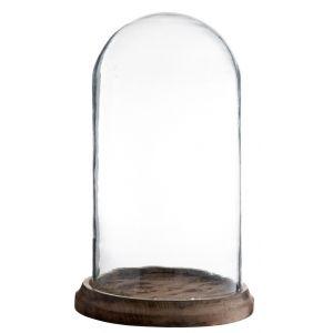 Klosz szklany z drewniana podstawką