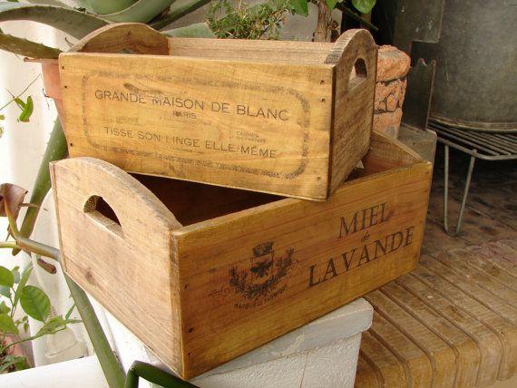set 2, vintage, kleine houten kisten met Franse typografie, reclame ontwerpen-shabby chic
