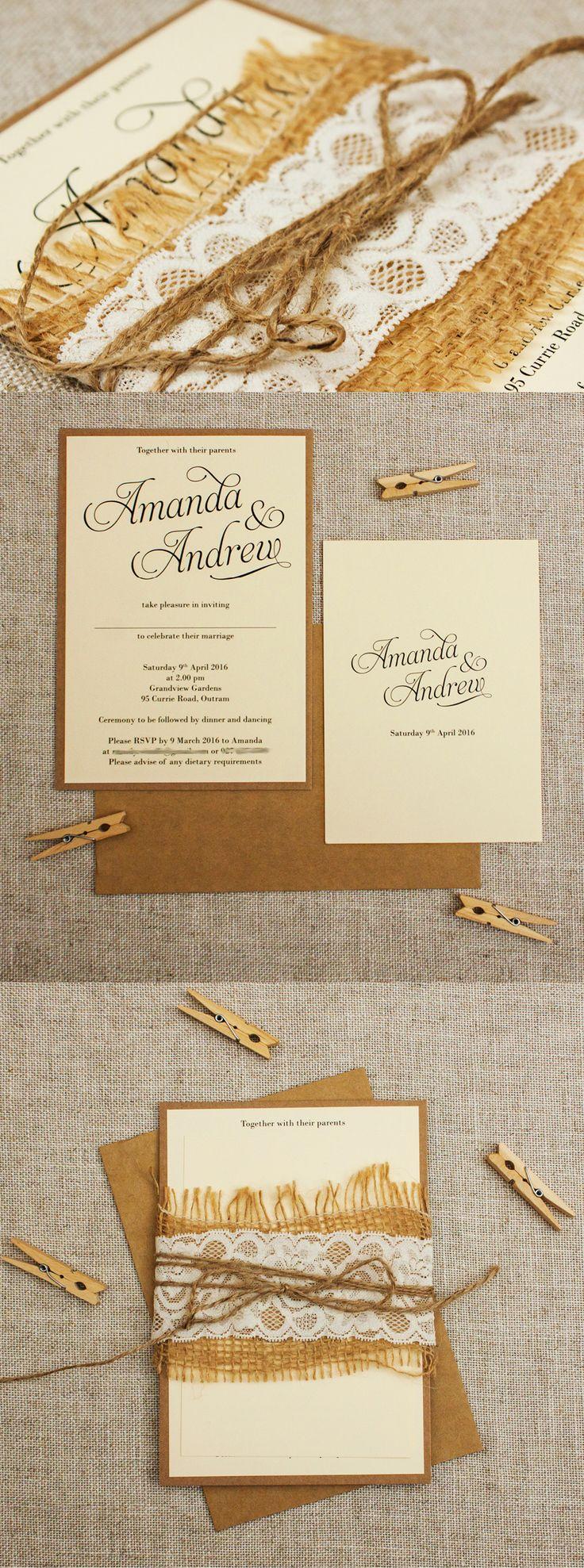 Rustic Simple Script - Cream Burlap and Lace Wedding Invitations