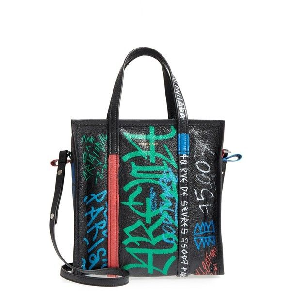 Women's Balenciaga Small Bazar Grafitti Leather Shopper ($1,990) ❤ liked on Polyvore featuring bags, handbags, tote bags, shopper tote, leather handbags, shopping bag, balenciaga handbags and genuine leather purse