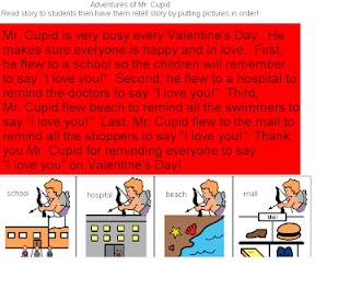 Adventures of Mr. Cupid- short story to work on auditory comprehension and recalling details. -  Pinned by @PediaStaff – Please Visit http://ht.ly/63sNt for all our pediatric therapy pins: Adventure, Speech, Slp, Shorts Stories, 63Snt, Language, Cupid Sequences, Ideas Cars Games, Therapy