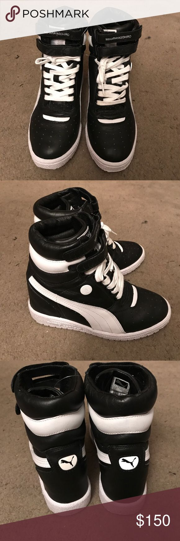 Puma contact wedge shoes Black and white wedge tennis shoes great condition barley worn at all does have some stains on shoe lace but might be able to wash them not that noticeable puma miharayasuhiro Shoes Sneakers