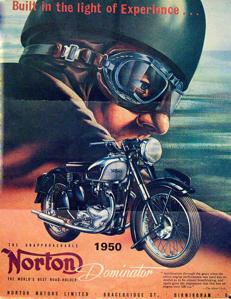 1950 Norton Dominator advert - My dad also had the SS custom with leather seat, siamese exhaust and fairings