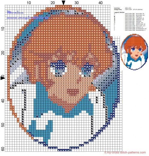 Schema punto croce Mila (Mila e Shiro)