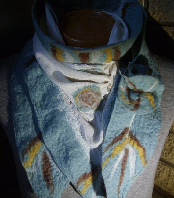 Blue skies Nuno felted scarf by Beautifulfelts on Etsy, $60.00