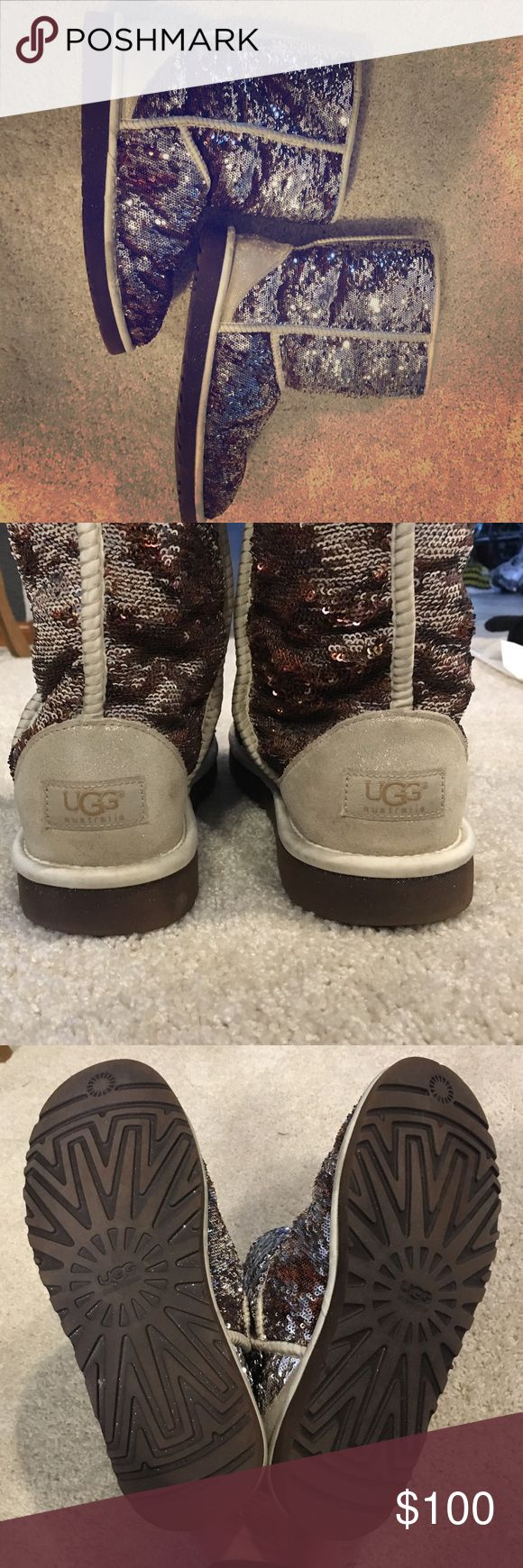 UGG Classic Short Sparkle Boot UGG Classic Short Sparkle Boot is so cute and warm. This boot has never been worn outside, only inside around the house. Keeps feet so warm and looks great with any outfit. UGG Shoes Winter & Rain Boots