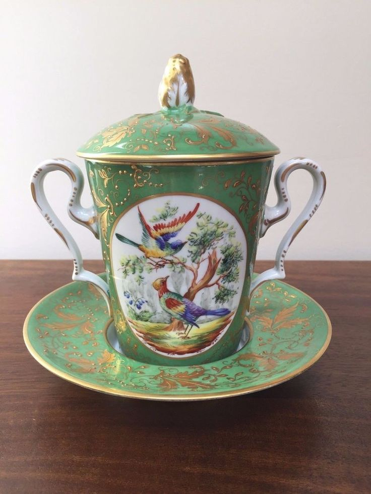 Le Tallec Green w/ gold porcelain trembleuse cup & saucer  with Birds of Paradise