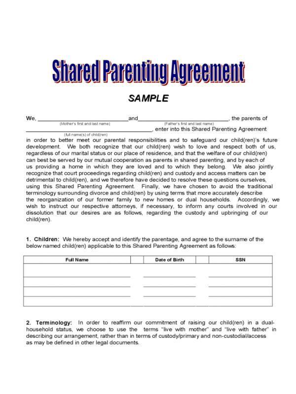 Sample Custody Agreement  template  Custody agreement