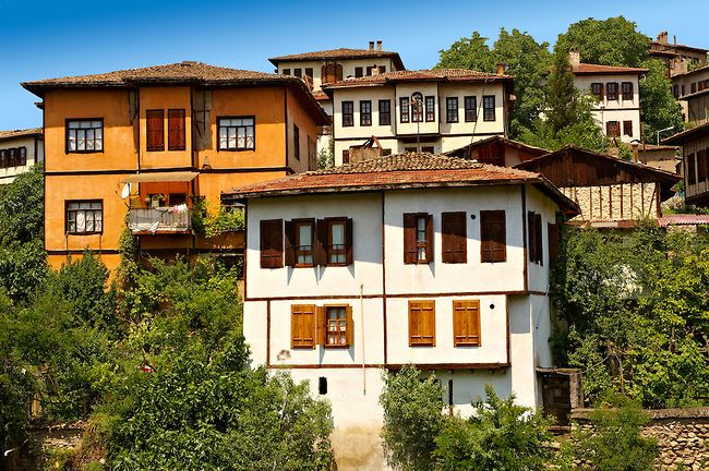 Ottoman style houses of Safranbolu, Turkey. Safranbolu's architecture influenced urban development throughout much of the Ottoman Empire an...