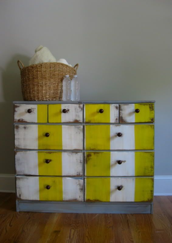 Dresser re-do in Grey with Yellow and White stripes
