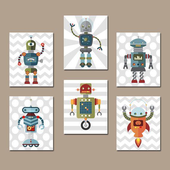 ROBOT Wall Art, Big Boy Bedroom Pictures, CANVAS or Prints Baby Boy Nursery Artwork, Aliens Outer Space Decor Galaxy Set of 6 Boy Decor