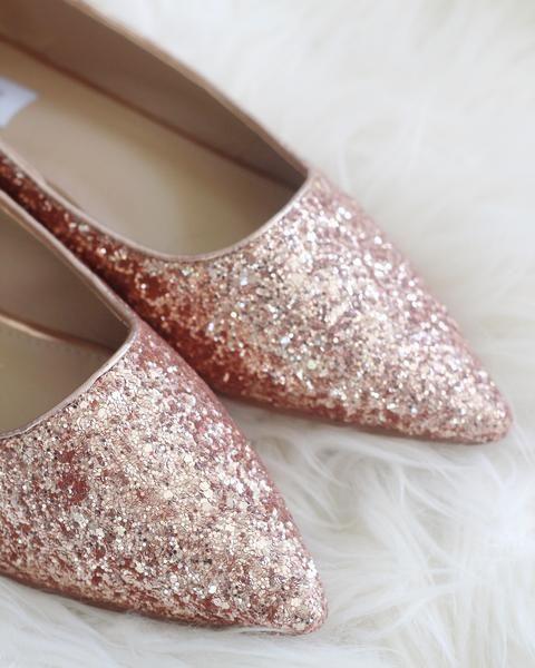7effaf4e6276 Women Glitter Shoes - ROSE GOLD Pointy Toe Rock Glitter Flats