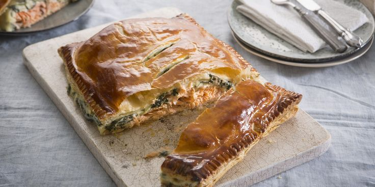An easy salmon en croute recipe from chef Marcello Tully, this recipe is topped with a cheese and spinach sauce and wrapped in shortcrust pastry.