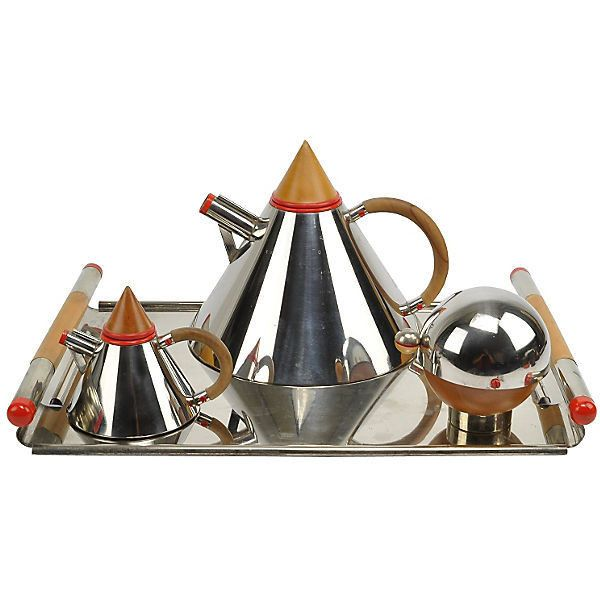 Pre-Owned Midcentury Laslo Towle Futura Tea Set ($959) ❤ liked on Polyvore featuring home, kitchen & dining, teapots, serveware, tea-pot, red tea set, red teapot, red tea pot and tea set