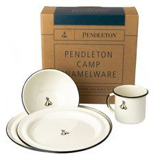 """Classic enamelware dish set. Speckled cream with black trim and teepee logo. Packaged nicely for a gift or give as a pair to make the perfect wedding present for the outdoorsy couple.  4 piece set includes 12oz mug, 6"""" bowl, 10.5"""" dinner plate, and 8"""" side plate dishwasher safe stainless steel with porcelain coating made in Mexico"""