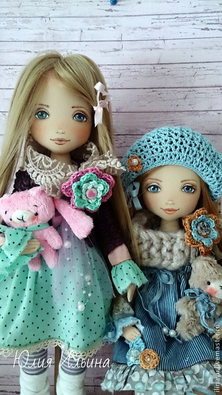 Купить Сестрички - голубой, кукла ручной работы, кукла в подарок, коллекционная кукла, авторская кукла
