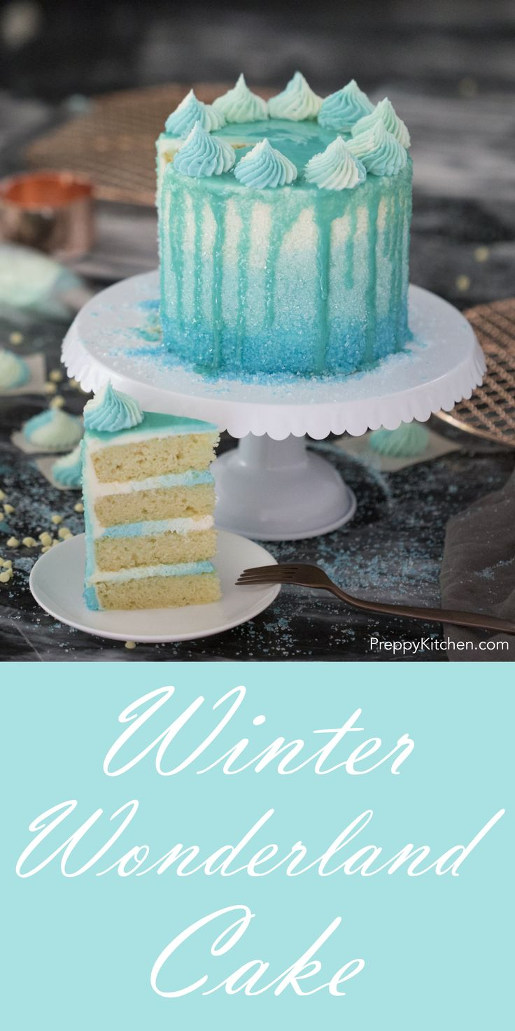 White chocolate buttercream, the best vanilla cake ever and ombré everything make this cake the perfect winter treat!