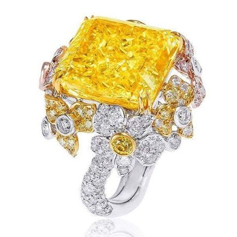 Anna Hu. Stunning 72 carats Fancy Intense Yellow Diamond Orchid Ring, emits a scintillating, pure yellow light like a morning sun.