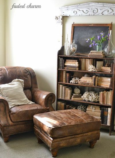 "Reading Nook..""I love this big leather chair that is so comfortable for reading a good book or browsing through a favorite magazine,"" Kathleen writes."