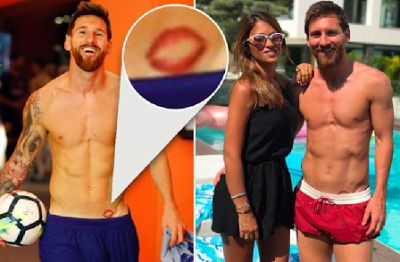Photo: Lionel Messi Pays Tribute To Wife's Lips Just Above His Groin