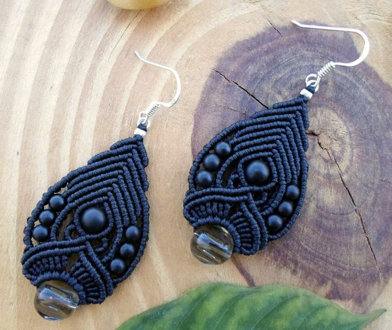 Black Onyx macrame earrings, macrame jewelry, micro macrame, macrame stone, fairy earrings, boho earrings, elven jewelry, tribal earrings