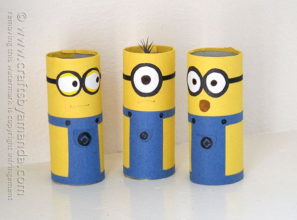 Cardboard Tube Minions - Crafts by Amanda