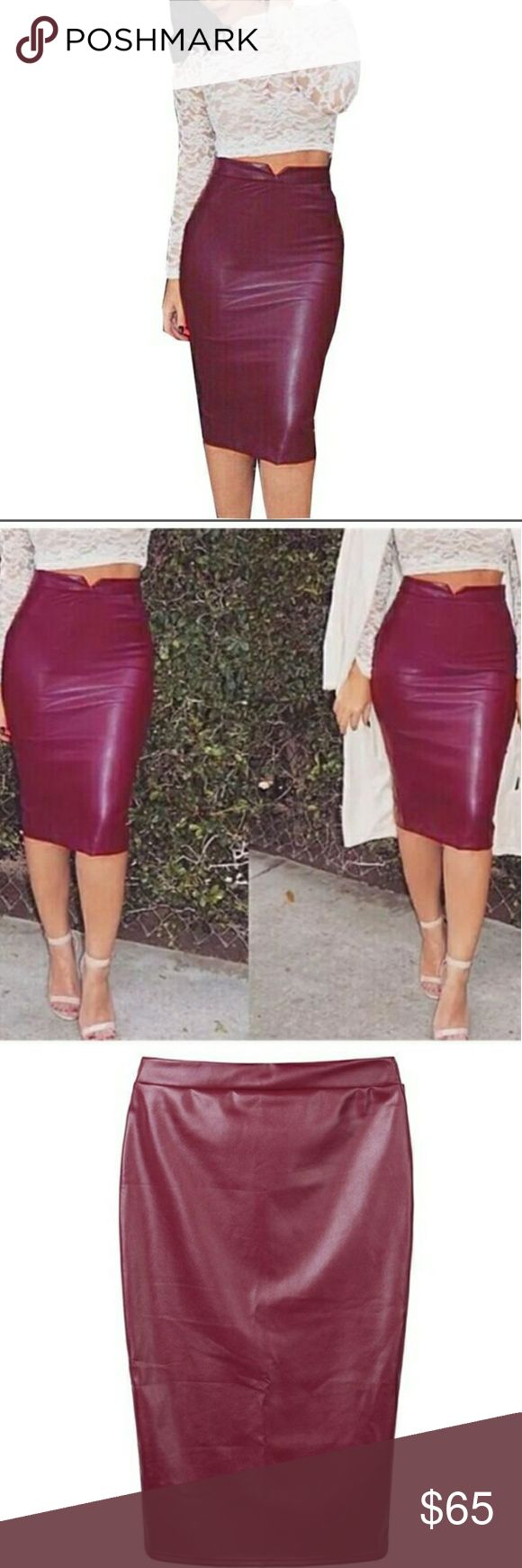 🔥JUST IN🔥Burgundy vegan leather skirt Hugs your curves just right!!  Coffee colored vegan leather skirt , has a high waist. No zipper. Lining last pic Has a ton of stretch.    Has pencil skirt shaping to it. Fits like a glove!  AND I HAVE HIPS!  :)  (Have a size XL for myself. Normally wear size 12 &14 depending on material)  Very true to size! Approx. Measurements: pls keep in mind the skirt has a lot of give. Get size up if you do not want it snug S -24w 30h 26 1/2L M-26w  32h 27L L-26…