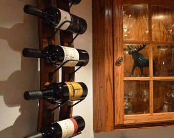 Sept Sale Rustic Wine rack made from reclaimed wine barrels, Wall Wine Rack
