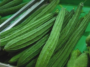 Chinese Okra  Also known as sponge gourd, vining okra or angled luffa.  Use in t…