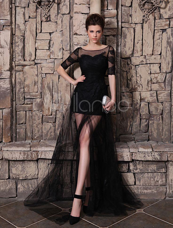 [150,68€] Vestido de noche de tul negro con escote en U