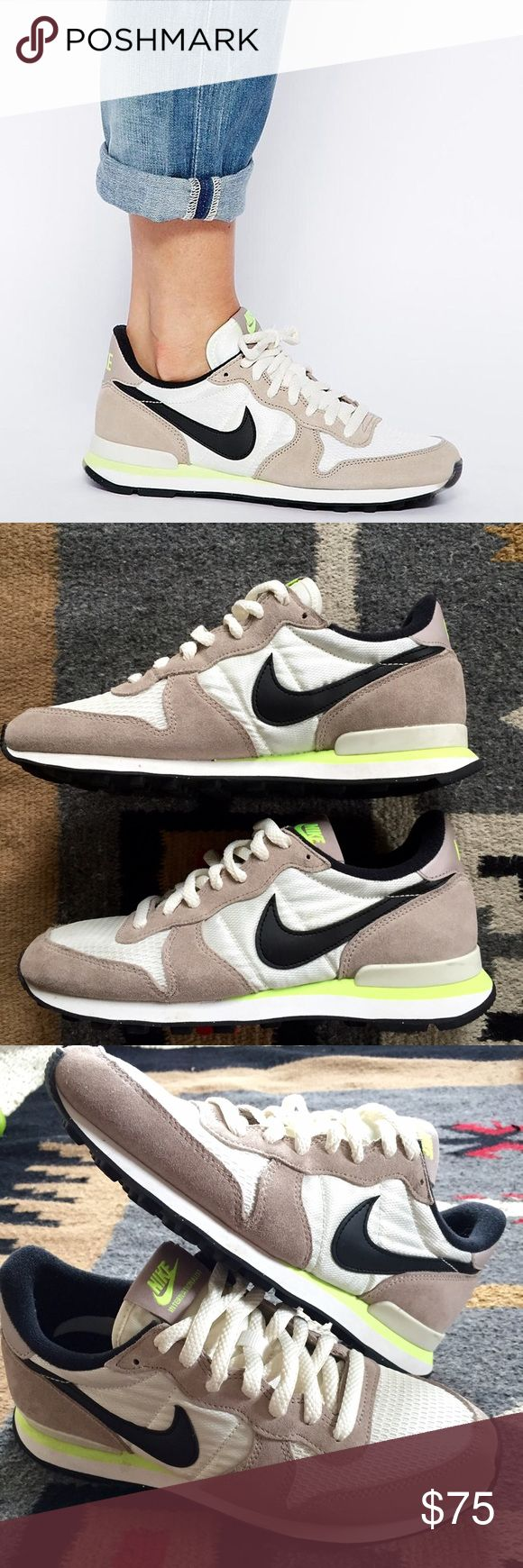 Nike Internationalist Taupe/ Neon Sneaker 7.5 Nike Internationalist White/ Black/ Taupe/ Neon Sneakers 7.5 | worn a few times, in almost perfect condition. Sold out everywhere, super cute color way! Can go lower on 🅿️al. Nike Shoes Sneakers
