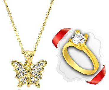 Kelebek Taşlı Altın Kaplama Kolye KS009 :: Zinde Market