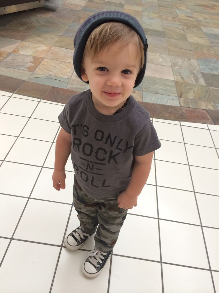 My boy Carter Jayce. Toddler outfit. Converse, army pants, rock n roll t shirt and a beanie