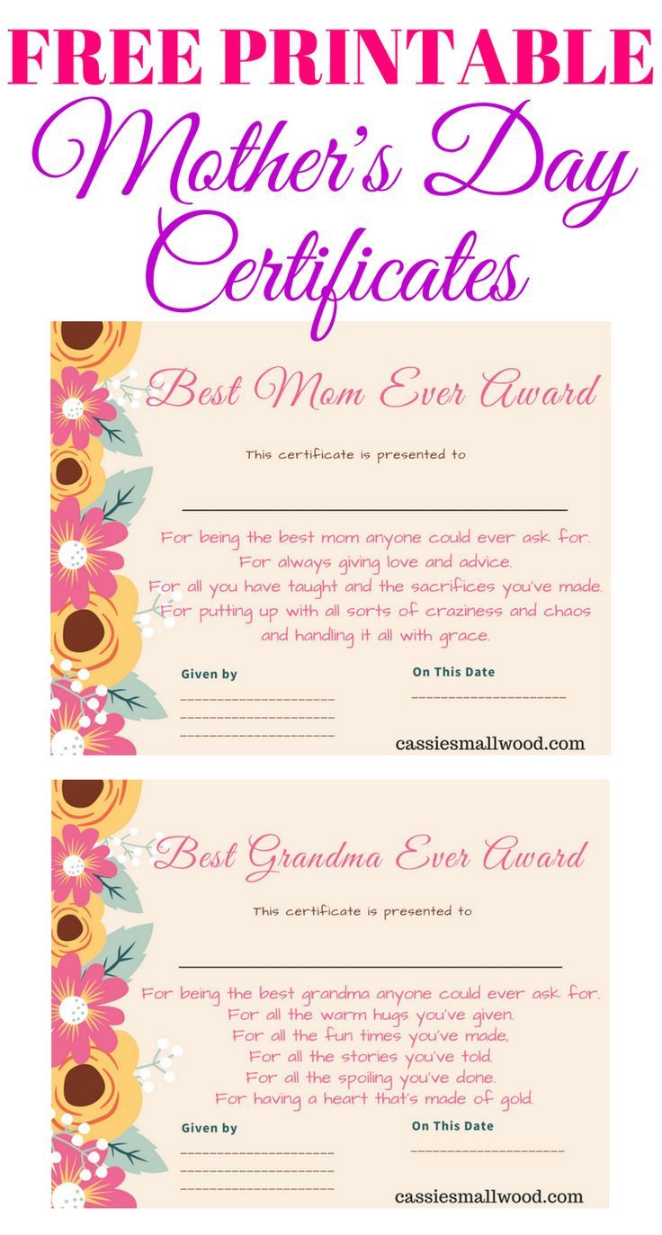 Free Mother's Day Printable Certificate Awards For Mom And