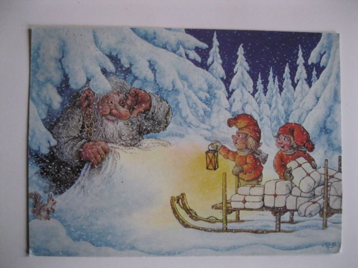 Sale !!! Artist postcard. signed Rolf Lidberg .Christmas 1982 by grandma62 on Etsy