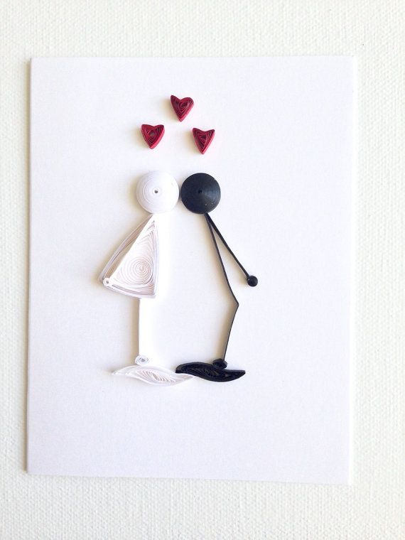 quilled kissing couple valentine's // by APaperLifeOriginals