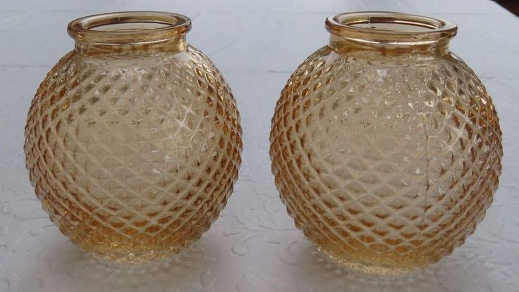 2 Vintage Amber Diamond Cut Glass Taper Candle Holders
