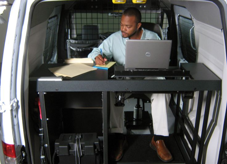 an ergonomic solutions vango mobile office installed in a ford transit connect is perfect for a