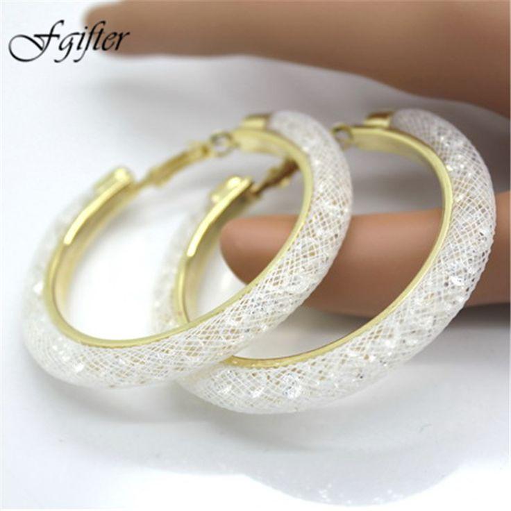 60mm Gold Circle Wedding Earrings for women Full Crystal Mesh Round Earring Hoops boucle d'oreille boho ethnic