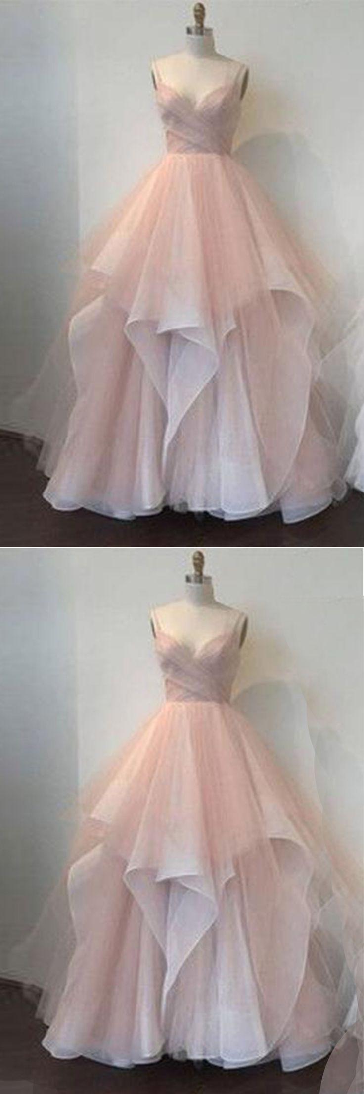 Blush pink tulle sweetheart neckline long senior prom dresses