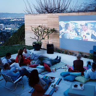 Backyard movie party...my friend, BR, mentioned this idea, but I couldn't find it on her boards. Anyway, here is something for the same idea. Looks fun!