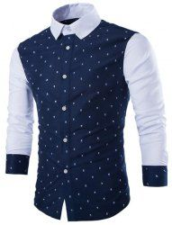 Trendy Slimming Turn-down Collar Long Sleeves Floral Print Splicing Cotton Blend Shirt For Men (WHITE,M) | Sammydress.com Mobile