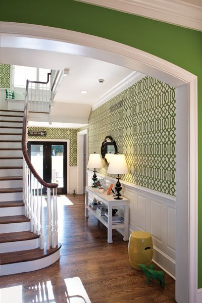 Image detail for -Bold Imperial Trellis wallpaper from Kelly Wearstler's collection Love the green and white with the wood.