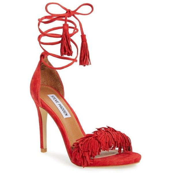 "Steve Madden 'Sassey' Fringe Sandal, 4"" heel ($97) ❤ liked on Polyvore featuring shoes, sandals, red suede, leather platform sandals, steve-madden shoes, ankle strap platform sandals, red sandals and high heel platform sandals"