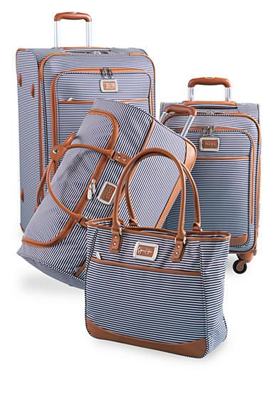 Travel in style with this Jessica Simpson Breton Spinner Luggage Collection. The navy and white stripes with leather piping give it a classic look.