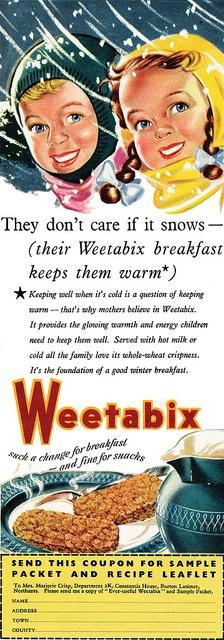 Weetabix will keep you warm! -- 1950s UK Weetabix advert