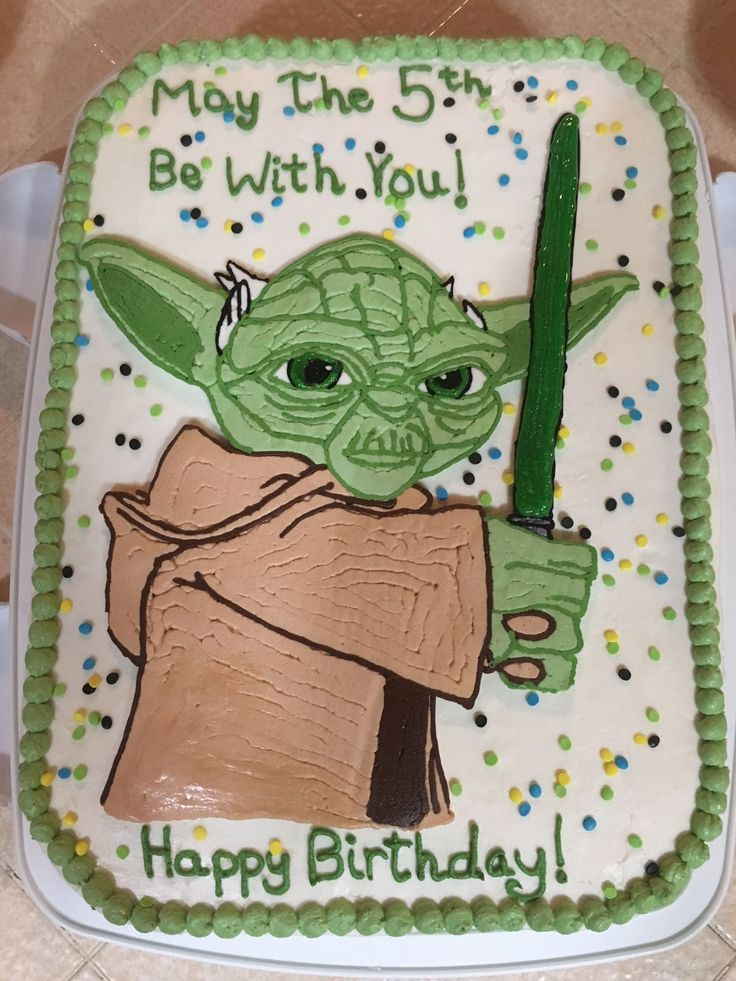 Star Wars Yoda Cake with Buttercream. Tracing method same as my Paw Patrol cake. Gel icing for eyes and light saber. Need to thin/warm buttercream a bit more.